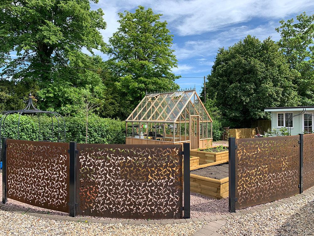 Kitchen Garden Case Study with Corten Steel panels Monk Sherborne Hampshire